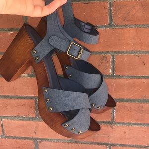 🌵Bamboo Wood / blue strappy heel